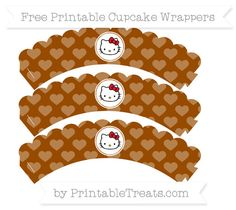 Free Brown Heart Pattern  Hello Kitty Scalloped Cupcake Wrappers