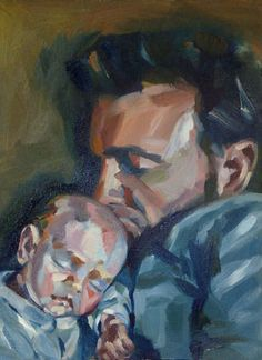 father and baby portrait painting Artist Painting, Painting & Drawing, Watercolor Painting, Mother And Baby Paintings, Dad Drawing, Birth Art, Father And Baby, Baby Portraits, Baby Art