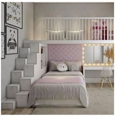 Bed For Girls Room, Bedroom Decor For Teen Girls, Cute Bedroom Ideas, Room Ideas Bedroom, Awesome Bedrooms, Cool Rooms, Girl Room, Girl Bedrooms, Loft Beds For Teens