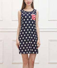 Look at this Blue & Red Star & Stripe Pocket Sleeveless Dress on #zulily today!