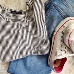 brandy melville striped tee only worn twice brandy Melville black and white striped tee. such a cute closet staple! comment with questions. Brandy Melville Tops Tees - Short Sleeve