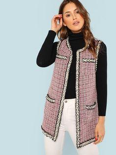 ceaf21144d56f Open Front Tweed Vest Coat. Long Jackets For WomenWinter ...