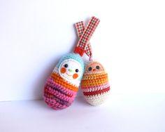 Keychain keyring amigurumi crochet matryoshka key by anekkashop, Crochet Keychain, Cute Crochet, Dolls, Christmas Ornaments, Holiday Decor, Unique Jewelry, Handmade Gifts, Pictures, Etsy