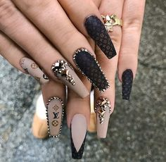 Looking for the very best nails? The Best Nail Art - 12 Amazing Nails That You . Bling Nails, Glam Nails, Fancy Nails, Chanel Nails, Louis Vuitton Nails, Sexy Nails, Fire Nails, Luxury Nails, Best Acrylic Nails