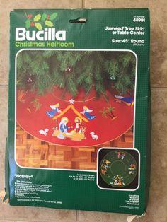 Bucilla 48981 Jeweled Nativity Red Felt Tree Skirt Table Center Christmas Kit #Bucilla