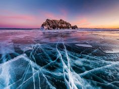 The ice of Russia's Lake Baikal cracks in this National Geographic Photo of the Day.