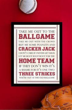 Baseball Art Print - Baseball Man Cave - Ballgame Typography Poster