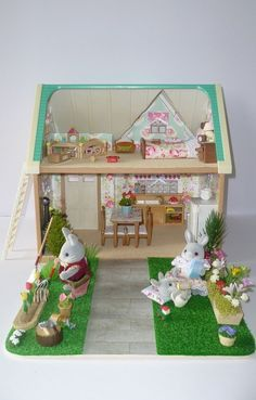 Sylvanian Families Decorated Applewood Cottage House + Garden/furniture/lots More