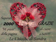 Cuore rosso con tulle r roselline di carta crespa - 2000 GRAZIE