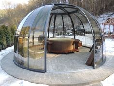 Incredible Suitable Outdoor Hot Tub Enclosures On Budget IdeasYou can find Hot tubs and more on our website.Incredible Suitable Outdoor Hot Tub Enclosures On Budget Ideas Outdoor Spaces, Outdoor Living, Outdoor Decor, Outdoor Ideas, Bubble Tent, Tub Enclosures, Hot Tub Garden, Dome House, Geodesic Dome
