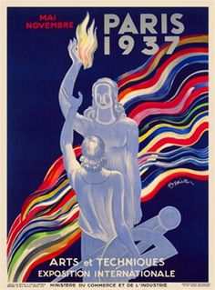 Paris 1937 by Cappiello France - Beautiful Vintage Poster Reproduction. This vertical French advertisement promotes an international exposition in Paris. One woman figure is holding up a flame while another female holding a compass and protractor. Giclee
