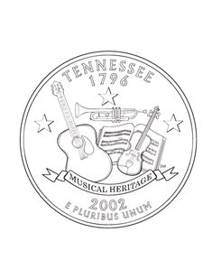 USA-Printables: Tennessee State Quarter - US States Coloring Pages Road Trip Activities, Book Activities, Usa Facts, Independent Girls, State Of Tennessee, Country Wall Art, State Quarters, Embroidered Quilts, Road Trip With Kids