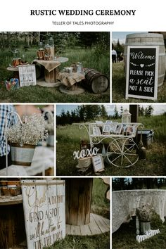 To see more of this outdoor rustic wedding visit Teller of Tales Photography. Wedding Ceremony Decorations, Wedding Venues, Wedding Photos, Summer Wedding, Our Wedding, Wedding Ideas, Fish Creek Park, Photo Look, Theme Ideas