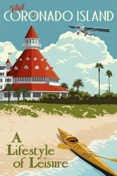 Steve thomas- coronado island california dreaming старые плакаты о путешест Retro Poster, Poster S, Vintage Travel Posters, Vintage Postcards, Photo Vintage, Vintage Art, Vintage Signs, Beach House Style, Steve Thomas