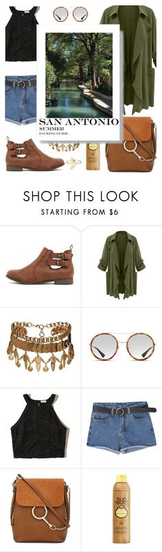 """""""San Antonio Summer Travel Outfit"""" by julielehenka ❤ liked on Polyvore featuring Elizabeth Cole, Gucci, Hollister Co., Chloé, Sun Bum, texas, SanAntonio and outfitsfortravel"""