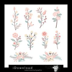 Hand Drawn flowers clipart, flower bouquet clip art, wedding invitation clipart, flower pack of 10 clip art, Personal and Commercial Use.