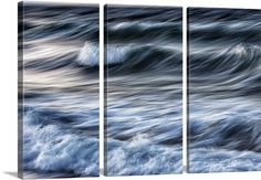 """""""Waves crashing on the beach at sunset in Greece"""" Three Panel Canvas by Scott Stulberg. Available at GreatBIGCanvas.com."""