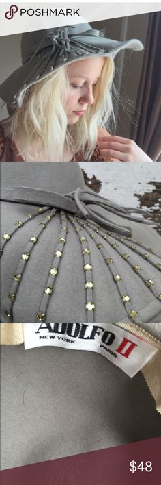 Vintage gray floppy hat Gray with yellow rhinestones. Darling! Vintage Accessories Hats