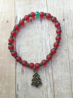 ON SALE - Christmas Tree Bracelet - Christmas Tree Charm Bracelet - Holiday Bracelet - Red Beaded Bracelet - Red Stretch Bracelet - Holiday