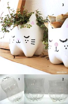 White kitty planters- this link has many different ideas for reusing/repurposing lots of stuff