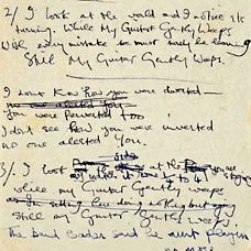 George Harrison's Handwritten lyrics for While My Guitar Gently Weeps