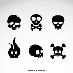ícones do vetor crânio definir