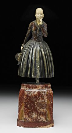 "@ Demetre H. Chiparus (Romanian 1886 - 1947), Paris, ""Hush"" Sculpture; Cold-Painted, Parcel-Gilt and Silvered Bronze, Carved and Tinted Ivory, Marble and Onyx Base."