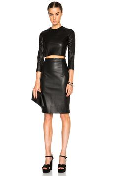 ThePerfext Amsterdam High Waisted Leather Skirt in Black | FWRD