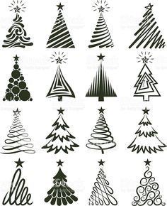 Various Christmas Tree Collection royalty-free stock vector art