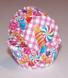 24 Wilton pink Gingham Candyland Cupcake Liners, Baking cups Girl Birthday Party Supplies Party Cups, Sweet Yummy Candy