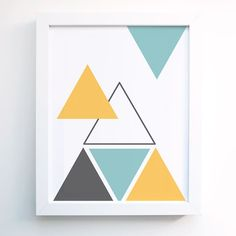 Geometric Triangle Art Print.  Turquoise Blue, Mustard yellow, Gray ,Grey  Wall Art -  Wall Decor - Minimal-  Modern
