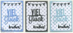 Kulricke ATC N + ATC 4 Stanze, Viel Glück Line Stanze, Geburtstag 2 Clear Stamps, Kulricke Designpapier