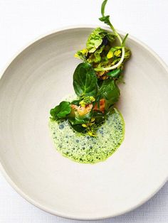 Grilled greens, langoustine, sea beet and spinach purée. Photo courtesy of Claes Bech-Poulsen. - See more at: http://theartofplating.com/news/5-chefs-who-master-the-art-of-plating-in-copenhagen/#sthash.c1IZ3pdS.dpuf