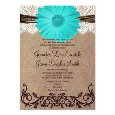 This rustic country teal turquoise blue gerbera daisy wedding announcement is perfect for a country style wedding or barn wedding.  ♥ For more rustic wedding invitations see http://www.zazzle.com/rustic+wedding+invitations?rf=238252963030229232&tc=wpz  ♥