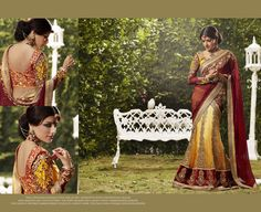 Beautiful Designer saree crafted with sophistication for Bridal, Wedding and Party occasion. Gorgeous Designs with sober colors and work will enhance your beauty. This is Yellow and Maroon Net and Georgette Lehenga Saree with Blouse. Its has heavy embroidered Velvet Border at the bottom of Skirt. Embroidary is blend of Zari, resham thread.