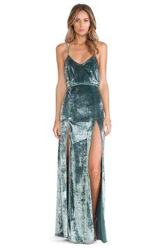 For Love & Lemons - Vixen Maxi Dress in Sage Velvet