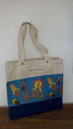 Fair trade shopper im Buddha Style. Asiatische Motive zieren diese Tasche im Ethno Design.