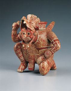 Precolumbian Rain God Vessel, c. 1100–1400  Mexico, Colima, El Chanal, Mixtec style, Middle Post Classic period (1200–1400)  Polychromed ceramic.