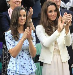 It's all over now: Pippa Middleton and her sister the Duchess of Cambridge salute Roger Federer and Andy Murray during the trophy presentation