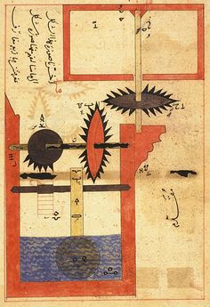 Arabic Machine Manuscript Images from an Arabic manuscript featuring schematics for water powered systems, pulleys and gearing mechanisms. The date is unknown but is thought to be from sometime between the and century Renaissance, Jugendstil Design, Diagram Chart, World Map Art, Visual Diary, Illustrations, Antique Prints, Illuminated Manuscript, Cartography
