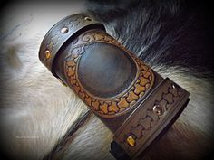 Viking Inspired Leather Wrist Cuff with Tooled Knotwork Ouroboros Design (Single) (BeastmanCaravan)