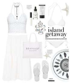 """Chic Island Getaway"" by palmtreesandpompoms ❤ liked on Polyvore featuring RED Valentino, MANGO, Havaianas, You, Me and the Dream, Melissa Odabash, Seafolly, Bobbi Brown Cosmetics, St. Tropez and Magdalena"