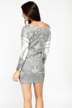Filigree Print Draped Knit Loose Blouse @ Cicihot Top Shirt Clothing Online Store: Dress Shirt,Sexy Womens Shirt,T Shirts,Corset Dress,White T Shirt,Girl T Shirt,Short sleeve top,Sexy Shirts