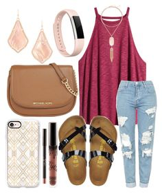""""""""""" by jadenriley21 on Polyvore featuring H&M, Topshop, Birkenstock, MICHAEL Michael Kors, Casetify, Kendra Scott and Fitbit"""