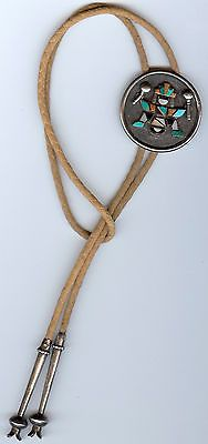 VINTAGE-ZUNI-INDIAN-TURQUOISE-INLAID-STONES-KNIFEWING-MAN-WITH-SHAKERS-BOLO-TIE