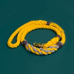Comfortable yellow rope leash. Cruiser Rope Leash by Lasso for small dogs. Marine style dog gear. Nautical rope leash for fashionable dogs. Walk your dog with style.