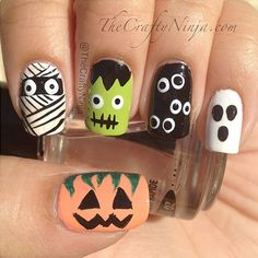 This look appears more intimating than it actually is. The Crafty Ninja clearly breaks down each nail step by step. Better yet, unlike many other more involved Halloween-inspired looks, this one doesn't need to be perfectly executed to still look great. Image: Pinterest via The Crafty Ninja