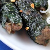 Thịt bò nướng lá lốt - Bo La Lot beef wrapped in piper leaf from the restaurant