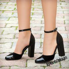Malibu Siyah Kalın Topuklu Ayakkabı