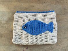 Borsa pochette in cotone bianco e celeste   borsa di MonicaAntique